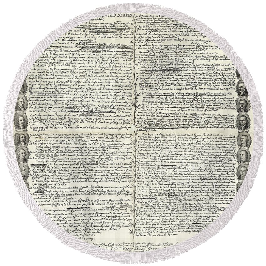 1776 Round Beach Towel featuring the drawing Declaration Of Independence by Granger