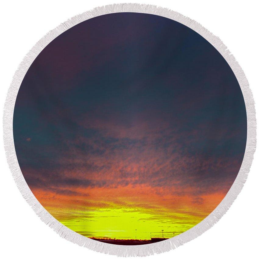 Nebraskasc Round Beach Towel featuring the photograph December Nebraska Sunset 001 by NebraskaSC