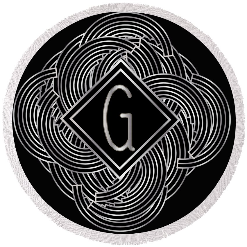 Monogram Round Beach Towel featuring the digital art Deco Jazz Swing Monogram ...letter G by Cecely Bloom