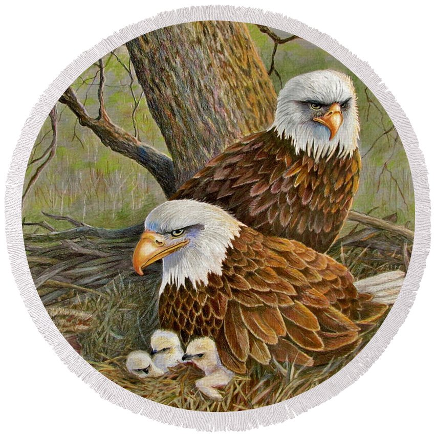American Bald Eagles Round Beach Towel featuring the drawing Decorah Eagle Family by Marilyn Smith