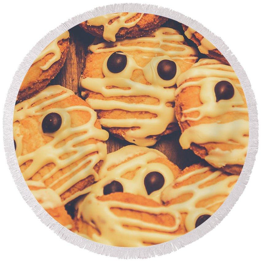 Decorated Shortbread Mummy Cookies Round Beach Towel