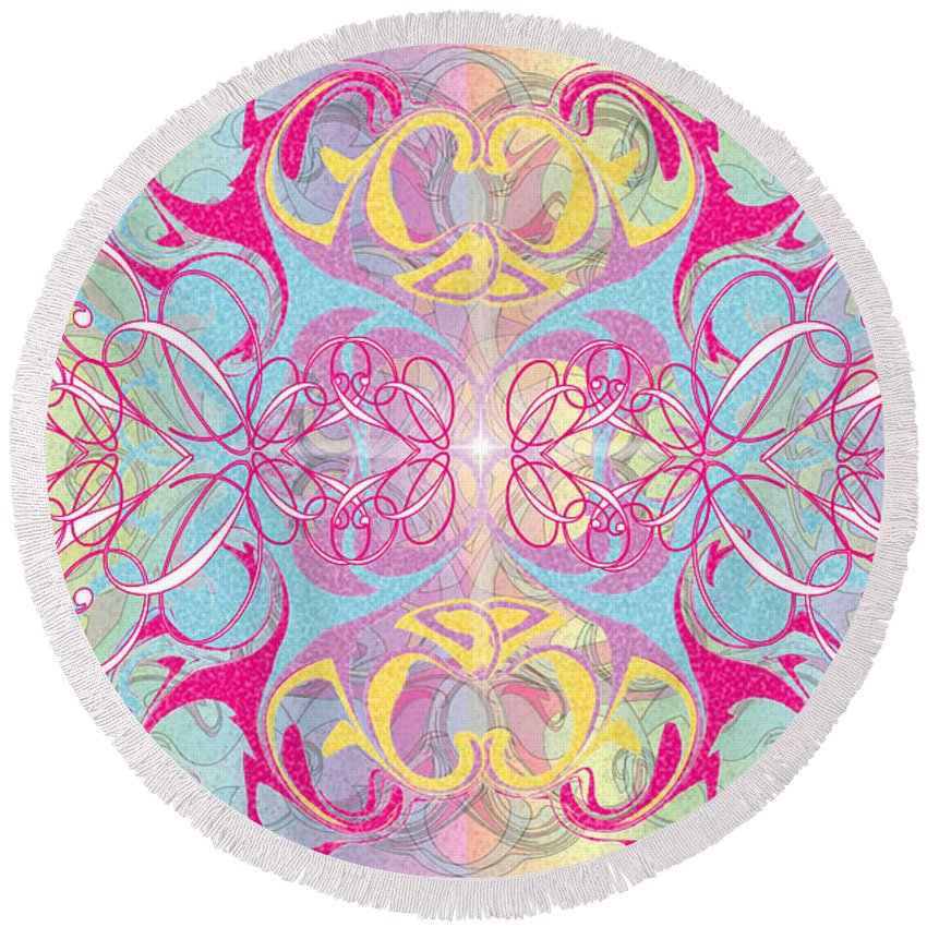 Color Round Beach Towel featuring the digital art Decorative 11 by George Pasini