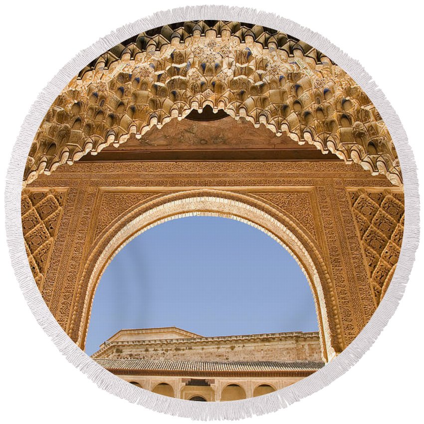 Architecture Round Beach Towel featuring the photograph Decorative Moorish Architecture In The Nasrid Palaces At The Alhambra Granada Spain by Mal Bray