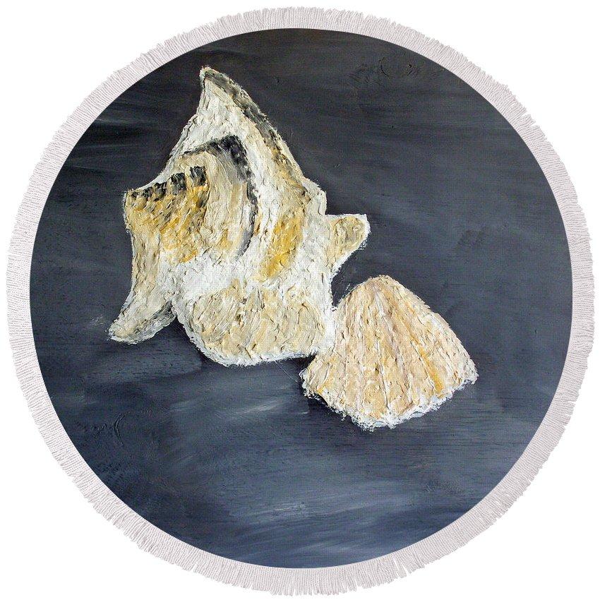 Still Life Paintings Round Beach Towel featuring the painting Deep Ocean Seashells by Leslye Miller