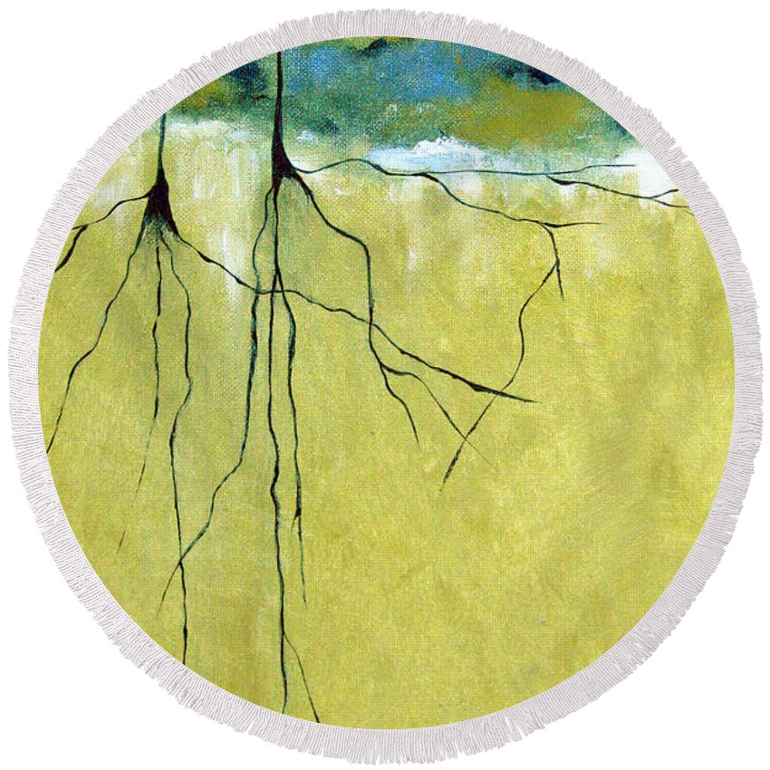 Abstract Round Beach Towel featuring the painting Deep Roots by Ruth Palmer