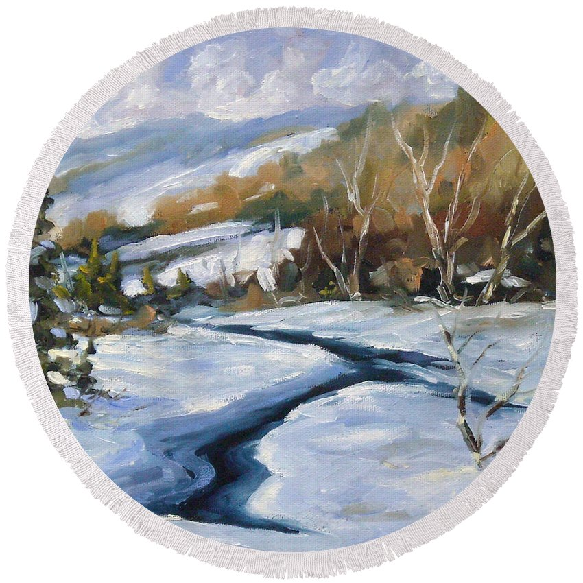 Art Round Beach Towel featuring the painting Deep Snow by Richard T Pranke