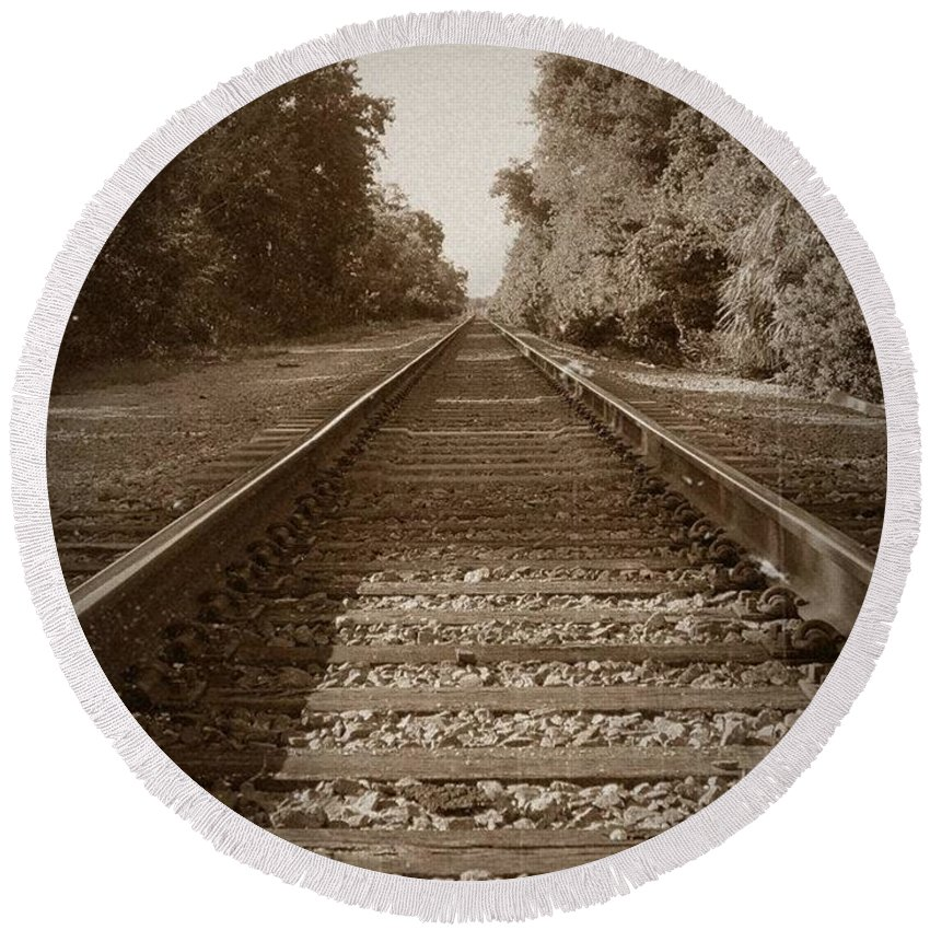 Train Tracks Round Beach Towel featuring the photograph Deep South by Pattie Frost