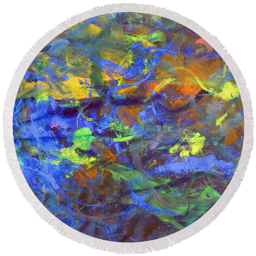 Abstract Round Beach Towel featuring the painting Deep Space Abstract Art by Lee Serenethos