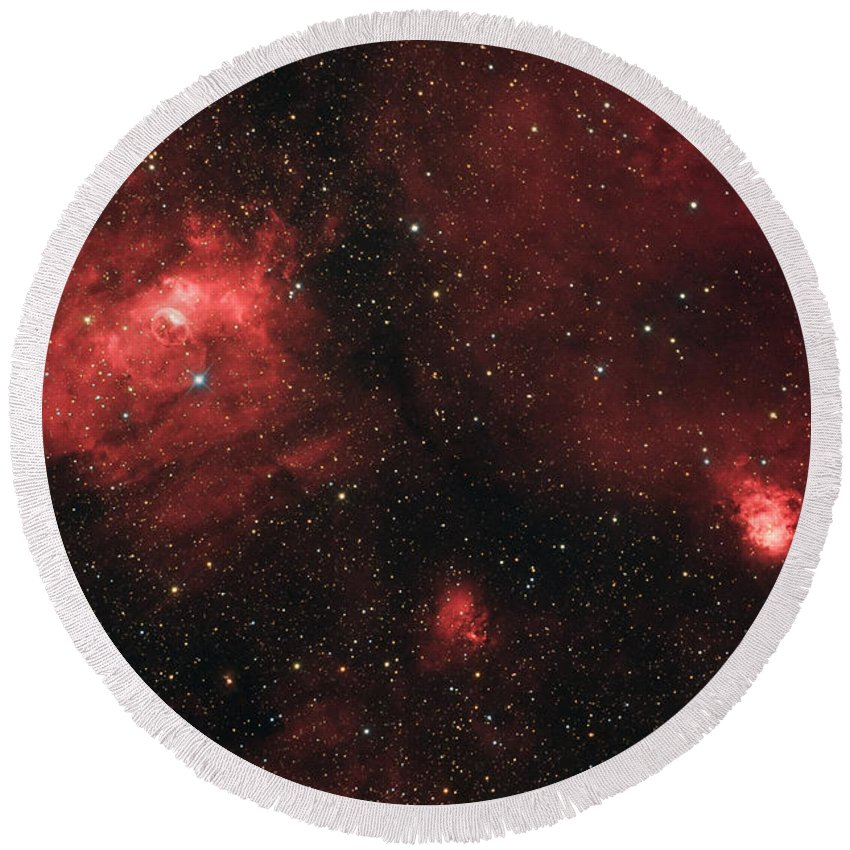 Red Round Beach Towel featuring the photograph Deep Space Bubble Nebula Ngc 7635 In Constellation Cassiopeia by Lukasz Szczepanski
