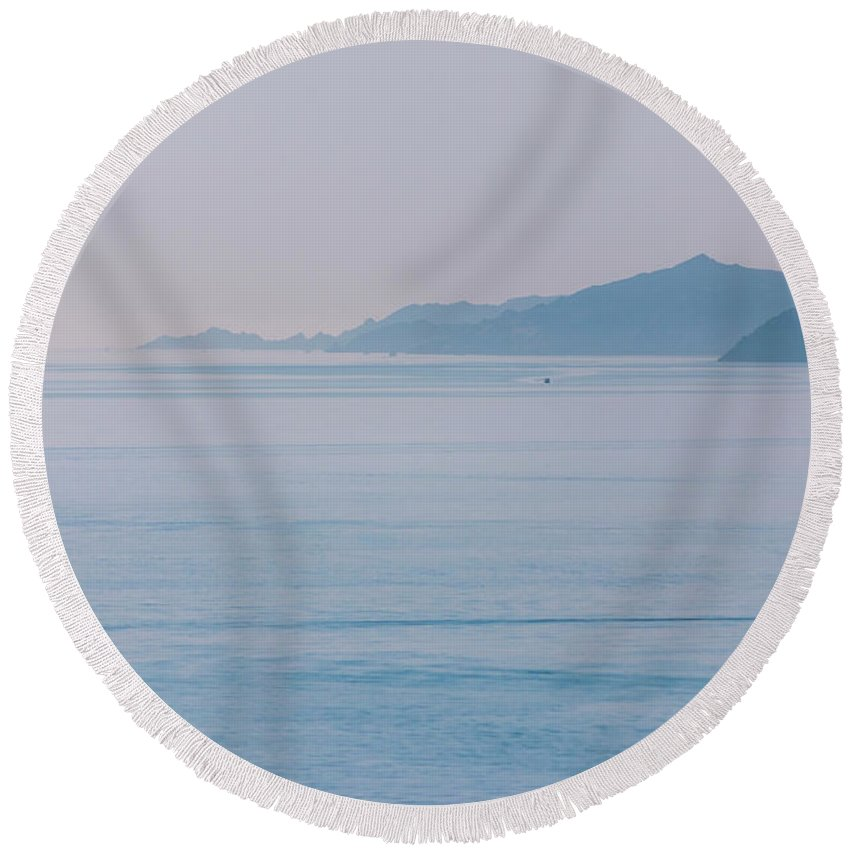 See Round Beach Towel featuring the photograph Deepbluesee by Ievgen Gubareni