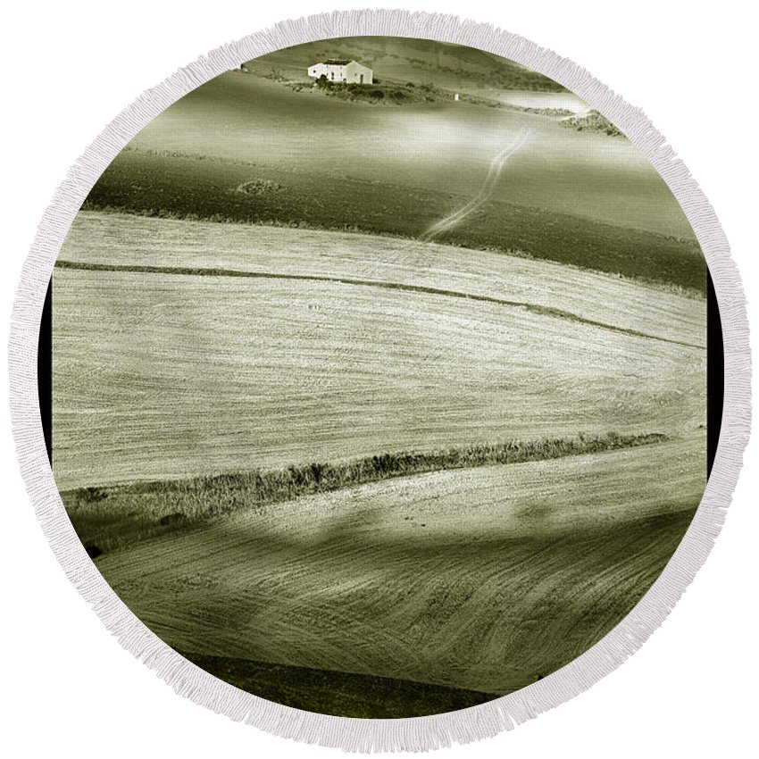Landscape Round Beach Towel featuring the photograph Deepening Shadows by Mal Bray