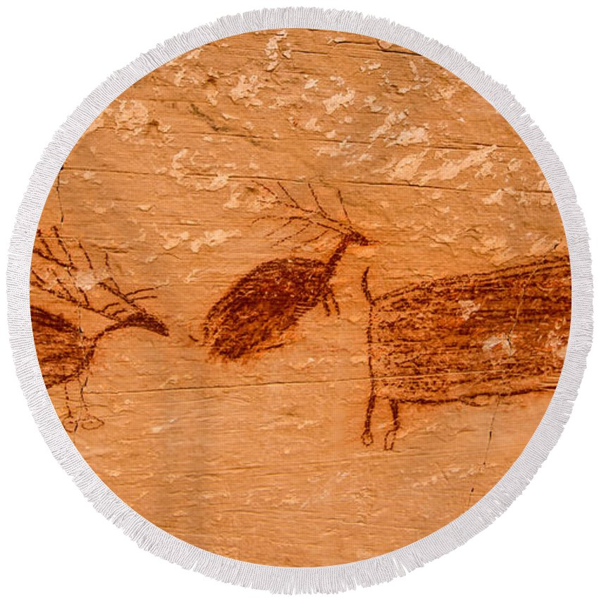 Utah Round Beach Towel featuring the photograph Deer And Bison Pictograph - Horseshoe Canyon - Utah by Gary Whitton