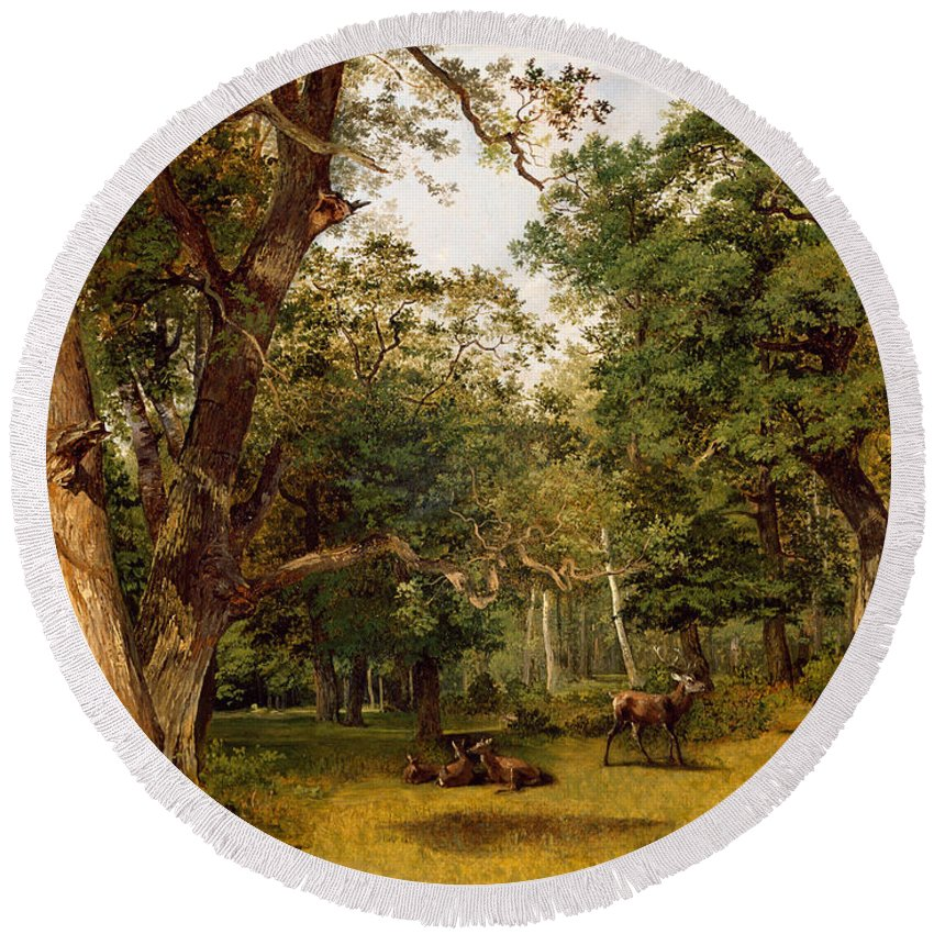 Jean-victor Bertin Round Beach Towel featuring the painting Deer At The Edge Of A Wood by Jean-Victor Bertin