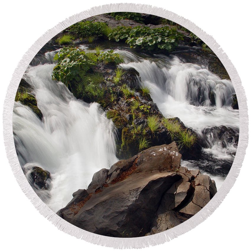 Creek Round Beach Towel featuring the photograph Deer Creek 12 by Peter Piatt