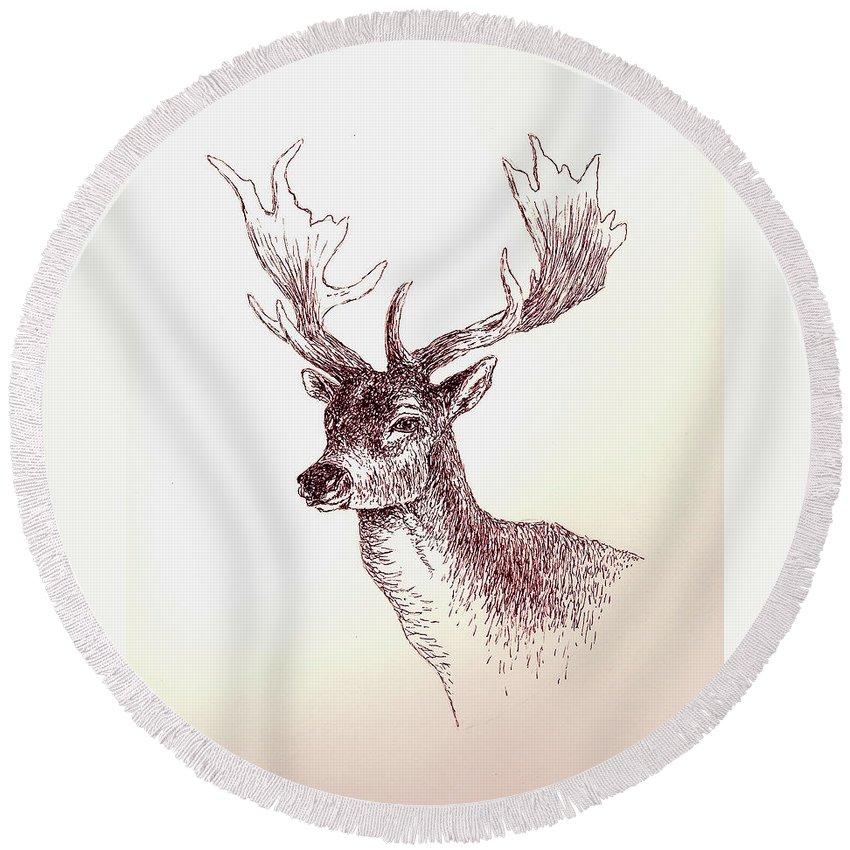Deer Round Beach Towel featuring the painting Deer In Ink by Michael Vigliotti