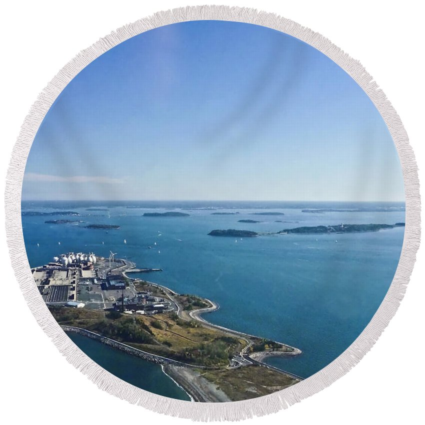Aerial Image Round Beach Towel featuring the photograph Deer Island In Boston Harbor 14bosl027 by Howard Stapleton