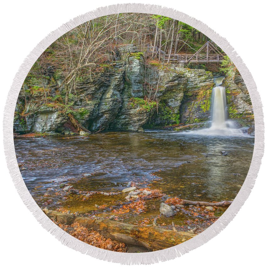 Waterfalls Round Beach Towel featuring the photograph Deer Leap Falls by Angelo Marcialis Melody Of Light Photography