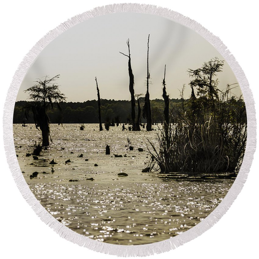 Wildlife Round Beach Towel featuring the photograph Deer Point Lake At Dusk by Debra Forand