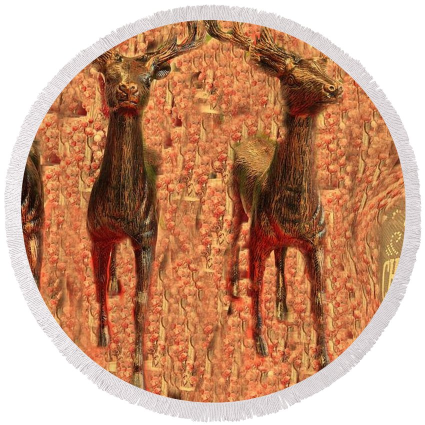 Round Beach Towel featuring the photograph Deers by Miriam Marrero