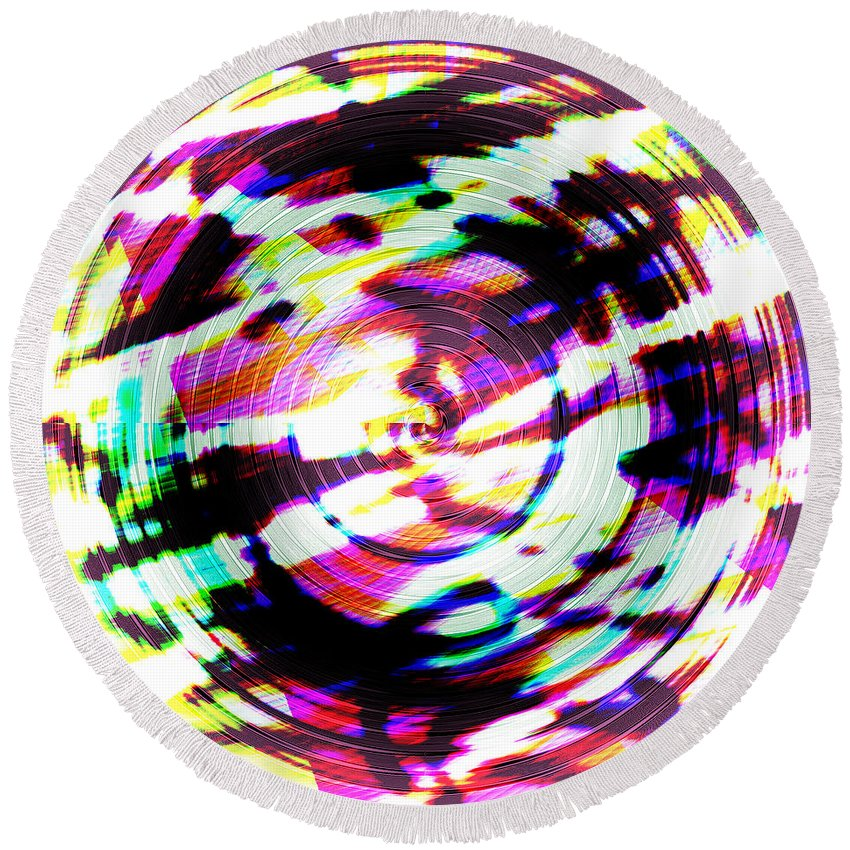 Abstract Round Beach Towel featuring the digital art Def by Blind Ape Art