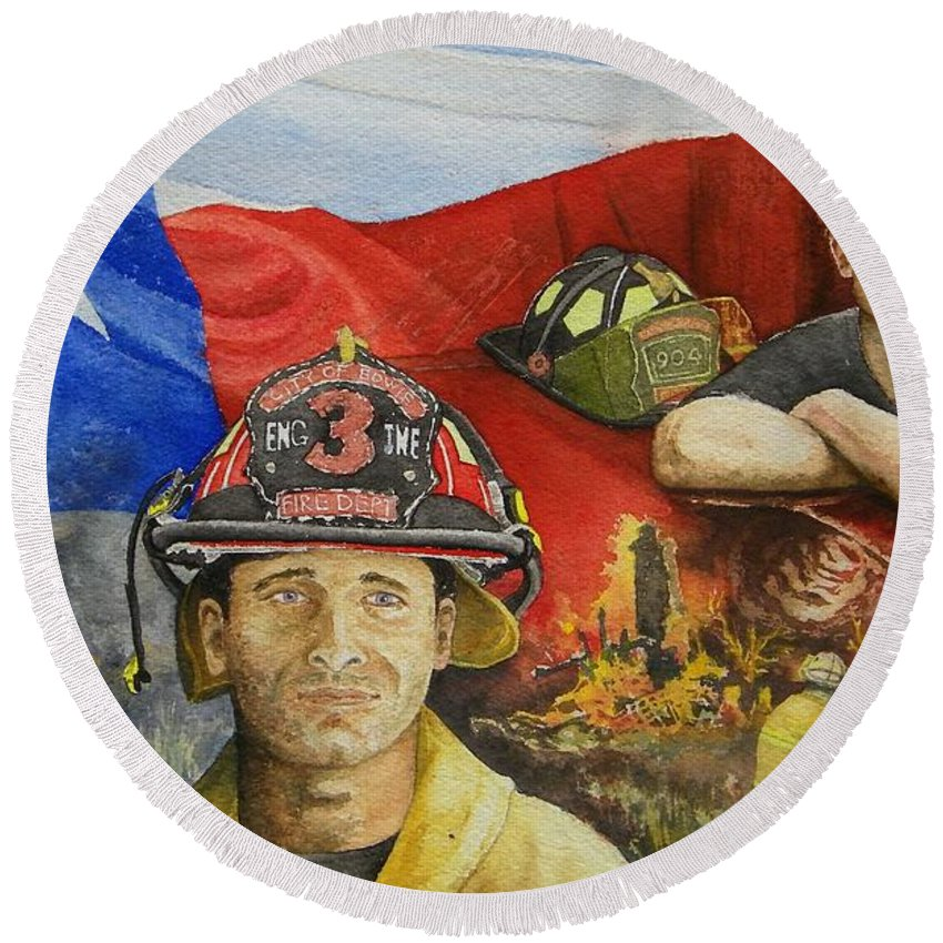 Firemen Round Beach Towel featuring the painting Defending Texas by Gale Cochran-Smith