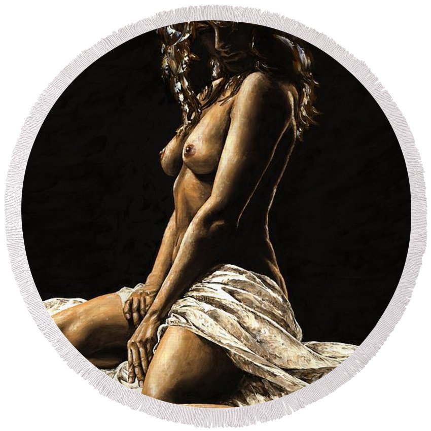 Nude Round Beach Towel featuring the painting Defiance by Richard Young
