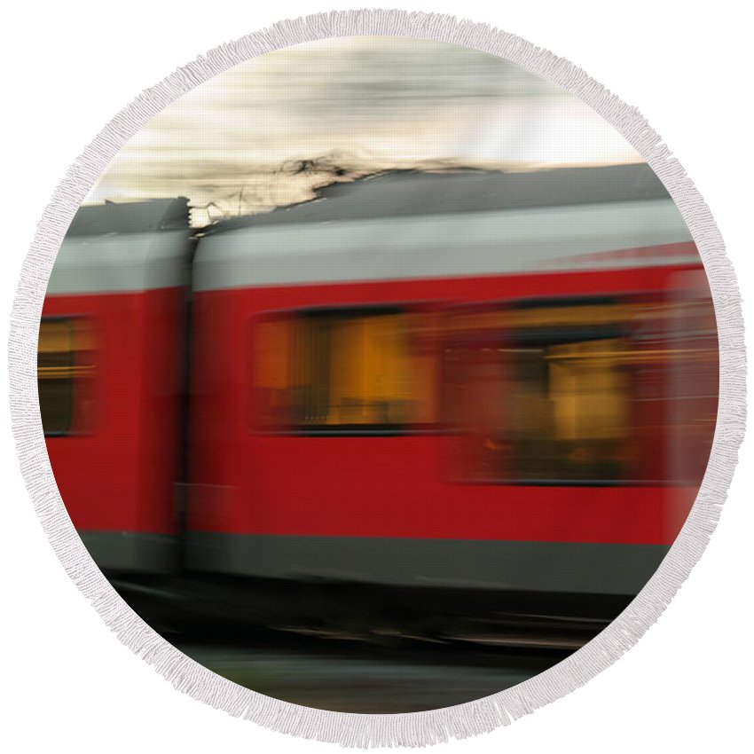 Train Round Beach Towel featuring the photograph Deformity by Explorer Lenses Photography