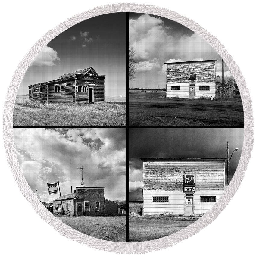 Tavern Round Beach Towel featuring the photograph Defunct Country Taverns On North Dakota Prairie Composite Square by Donald Erickson