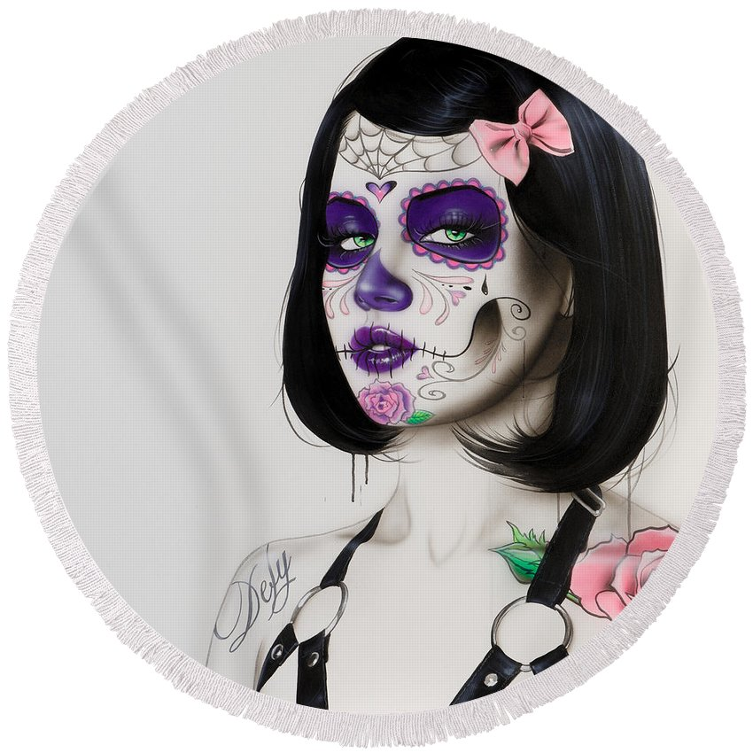 Sugar Skull Round Beach Towel featuring the painting Defy by Christian Chapman Art
