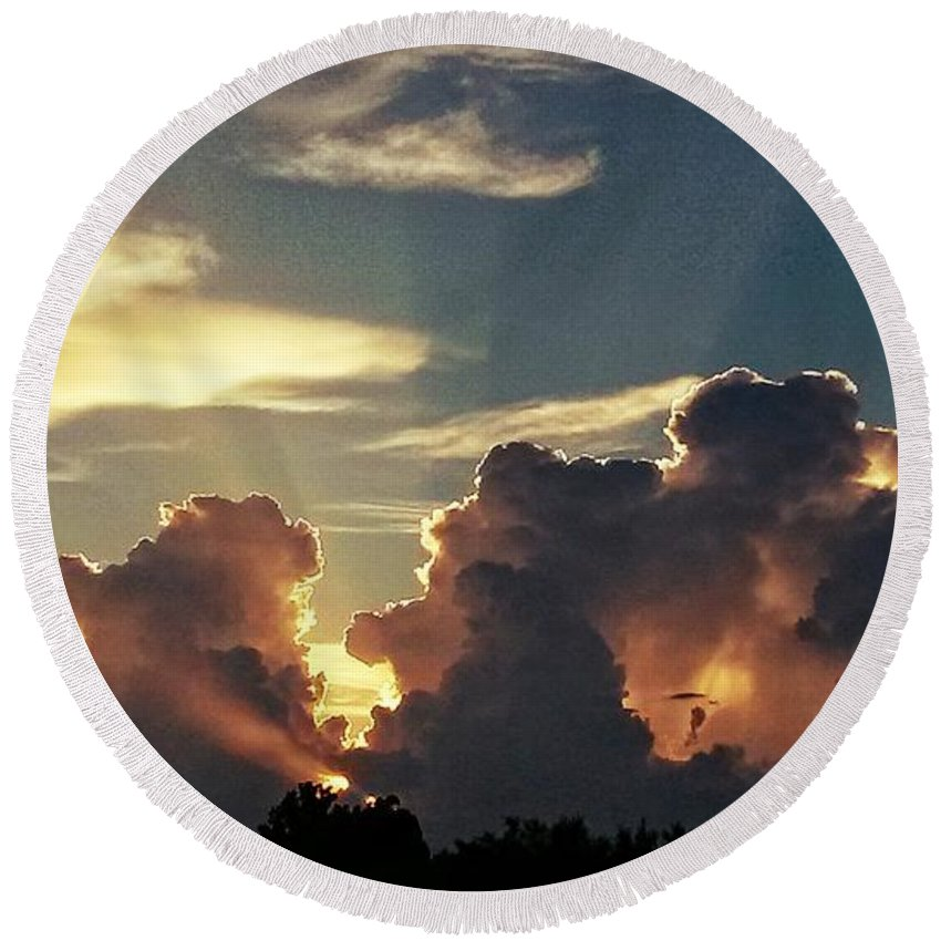Round Beach Towel featuring the digital art Degas Clouds #2 On Florida Sky by Alfred Blaho
