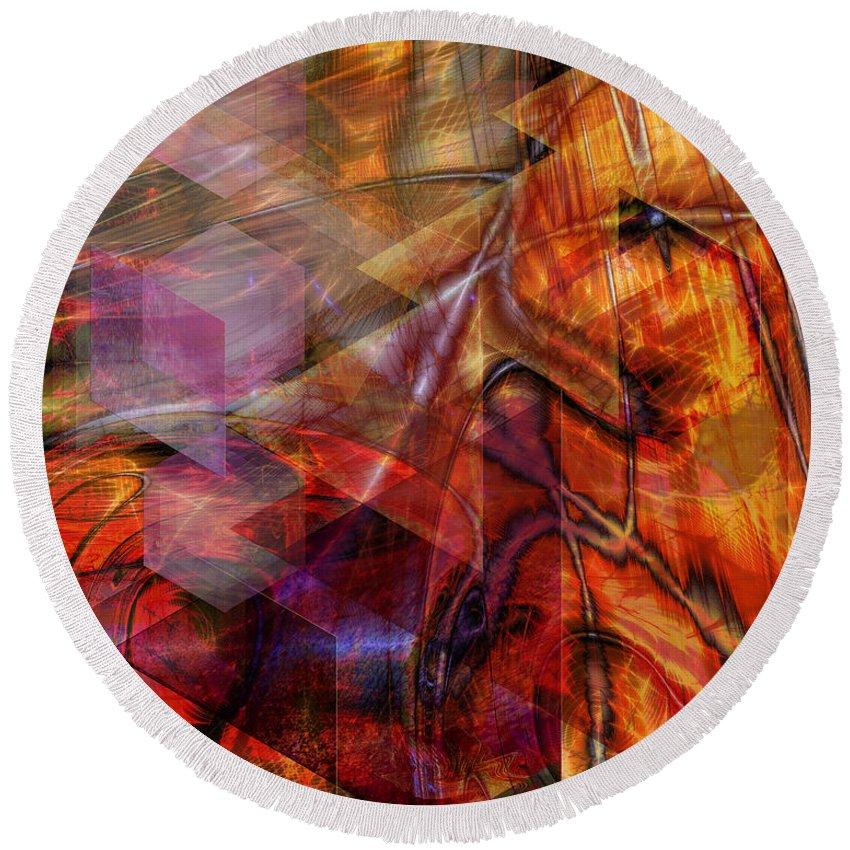 Deguello Sunrise Round Beach Towel featuring the digital art Deguello Sunrise by John Beck