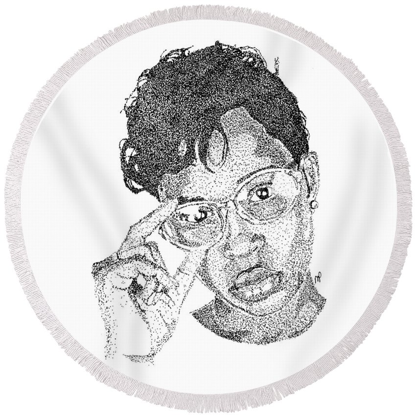 Black Art Round Beach Towel featuring the drawing Dej Loaf by Marcus Price