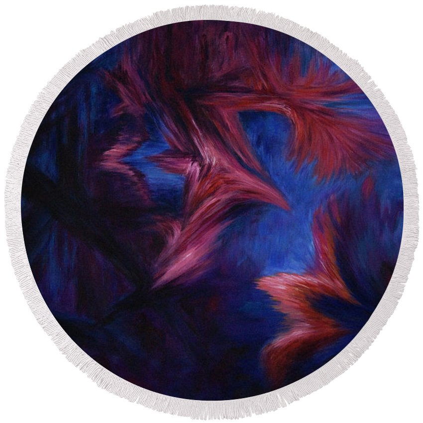 Abstract Round Beach Towel featuring the painting Deja Vu by Rachel Christine Nowicki