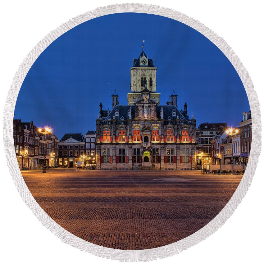 Delft Round Beach Towel featuring the photograph Delft Blue by Charlene van Koesveld