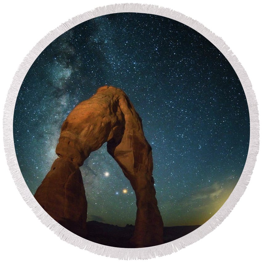 Delicate Arch Round Beach Towel featuring the photograph Delicate Arch Moonset by Darren White