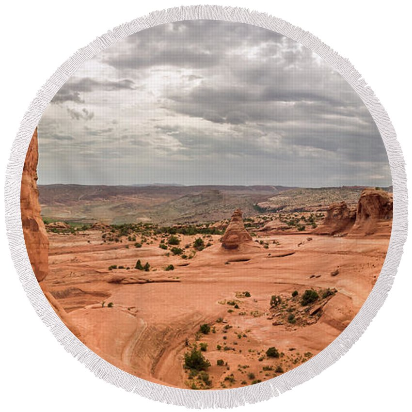 3scape Round Beach Towel featuring the photograph Delicate Arch Panoramic by Adam Romanowicz