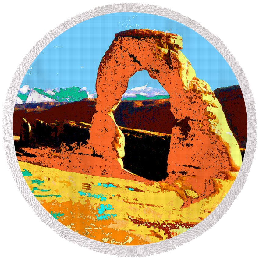 Delicate+arch Round Beach Towel featuring the painting Delicate Arch Utah - Pop Art by Peter Potter