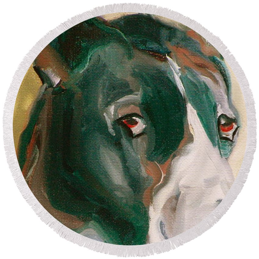 Greeting Cards Round Beach Towel featuring the painting Delicious Dane by Susan A Becker