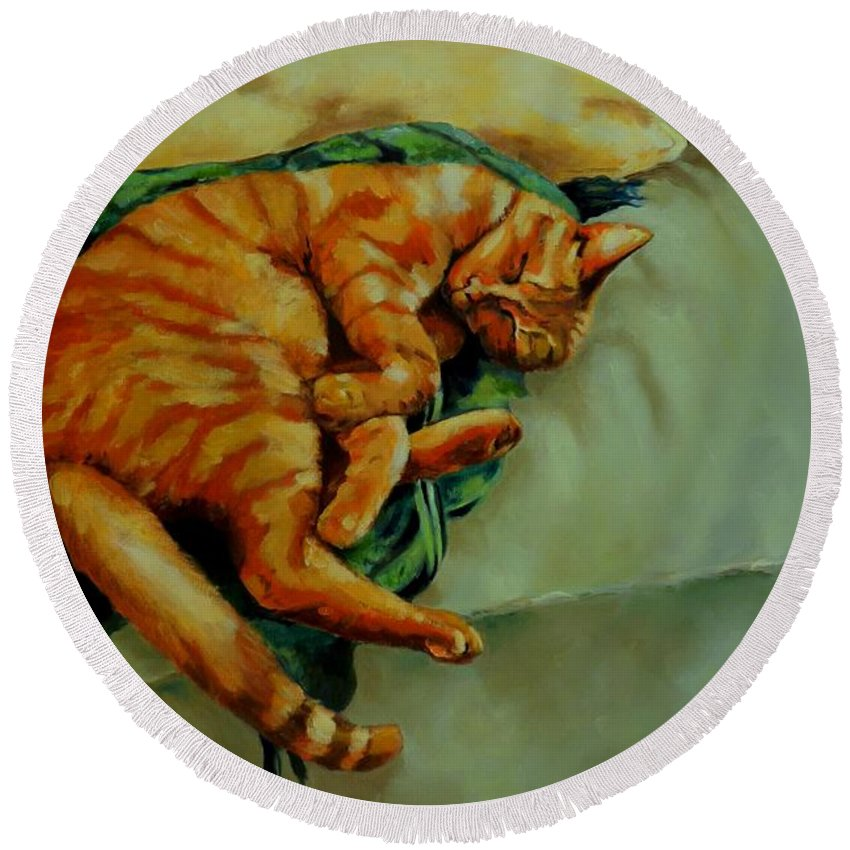 Sleeping Cat Round Beach Towel featuring the painting Delicious Sleep by Jolante Hesse