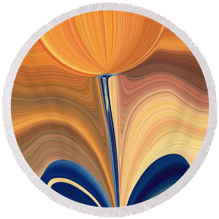Bloom Round Beach Towel featuring the digital art Delighted by Tim Allen