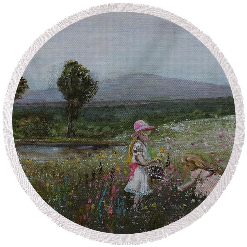 Impressionist Round Beach Towel featuring the painting Delights Of Spring - Lmj by Ruth Kamenev