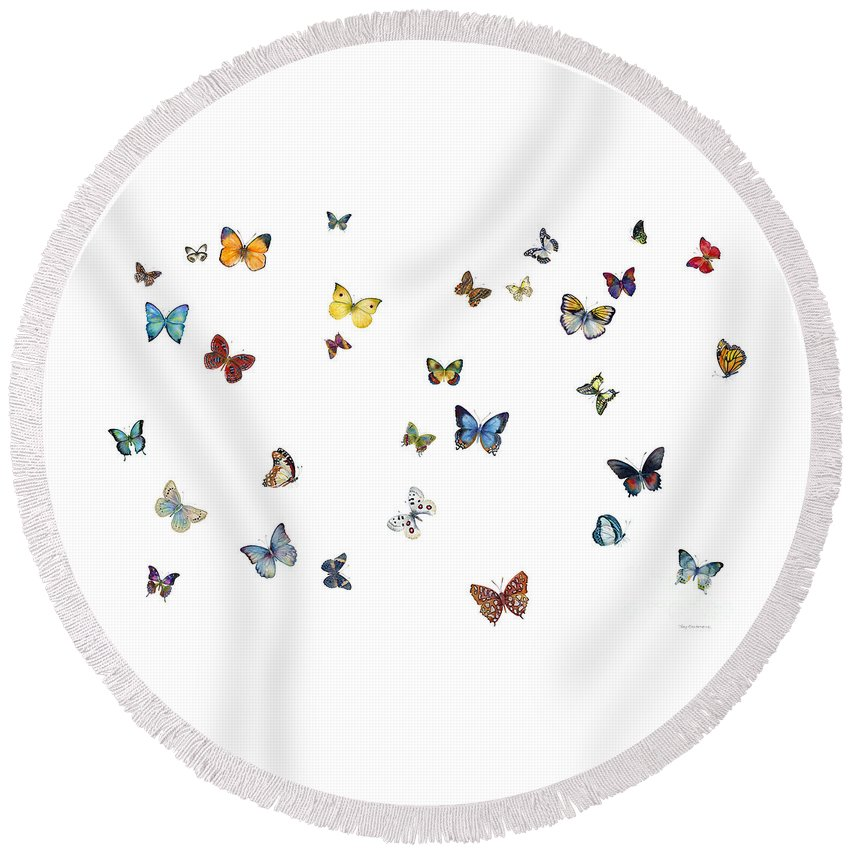 Butterflies Round Beach Towel featuring the painting Delphine by Amy Kirkpatrick
