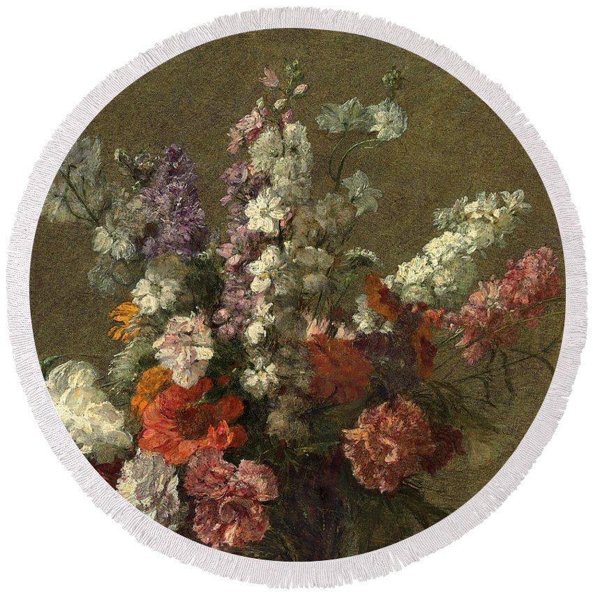 Delphiniums Round Beach Towel featuring the painting Delphiniums by Ignace Henri Jean Fantin-Latour