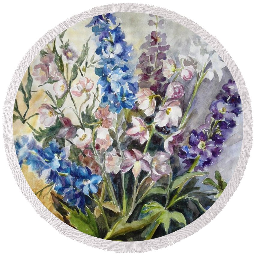 Delphinium Round Beach Towel featuring the painting Delphiniums by Natalya Slepneva
