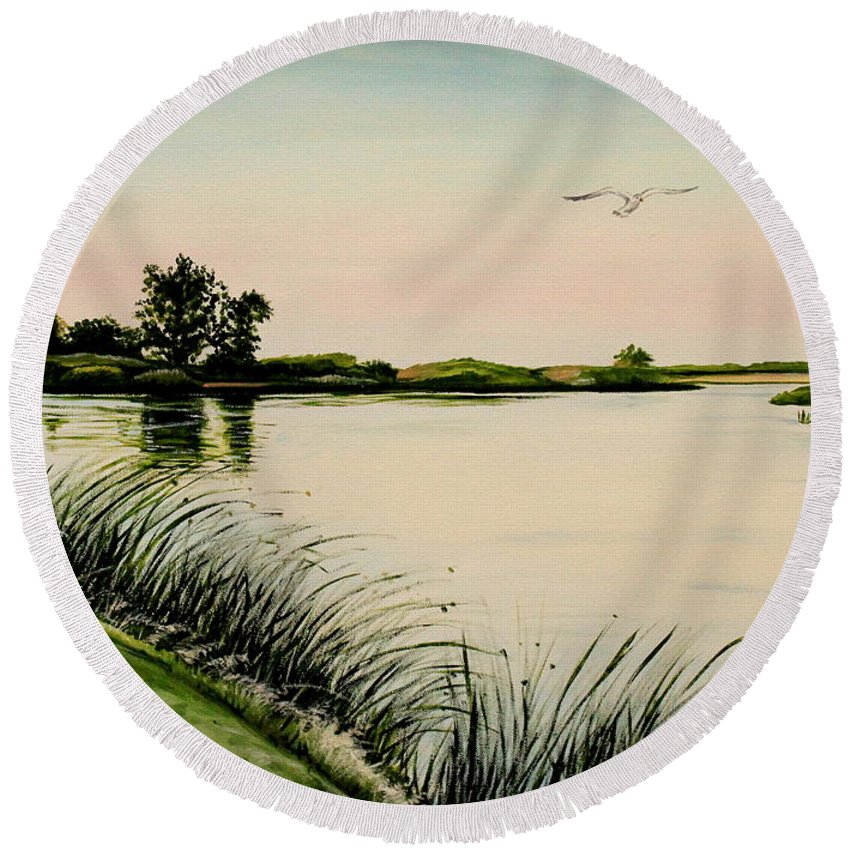Landscape Round Beach Towel featuring the painting Delta At Dusk by Elizabeth Robinette Tyndall