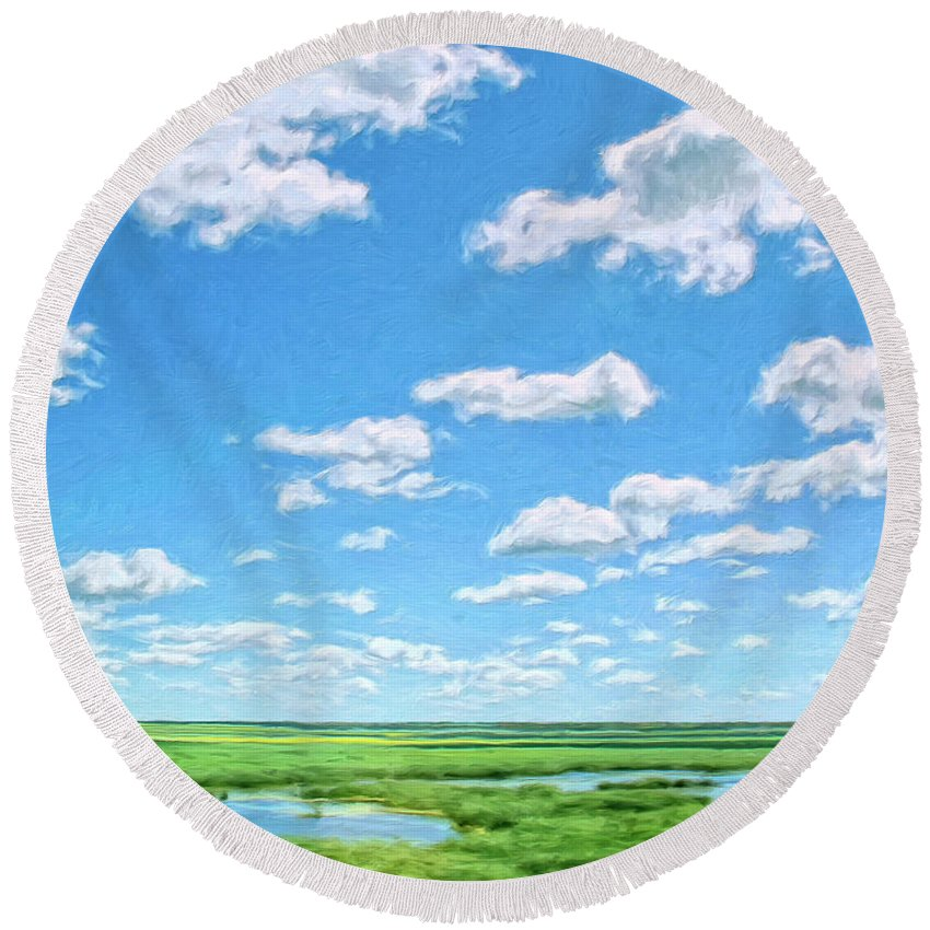 Delta Round Beach Towel featuring the painting Delta Day by Dominic Piperata