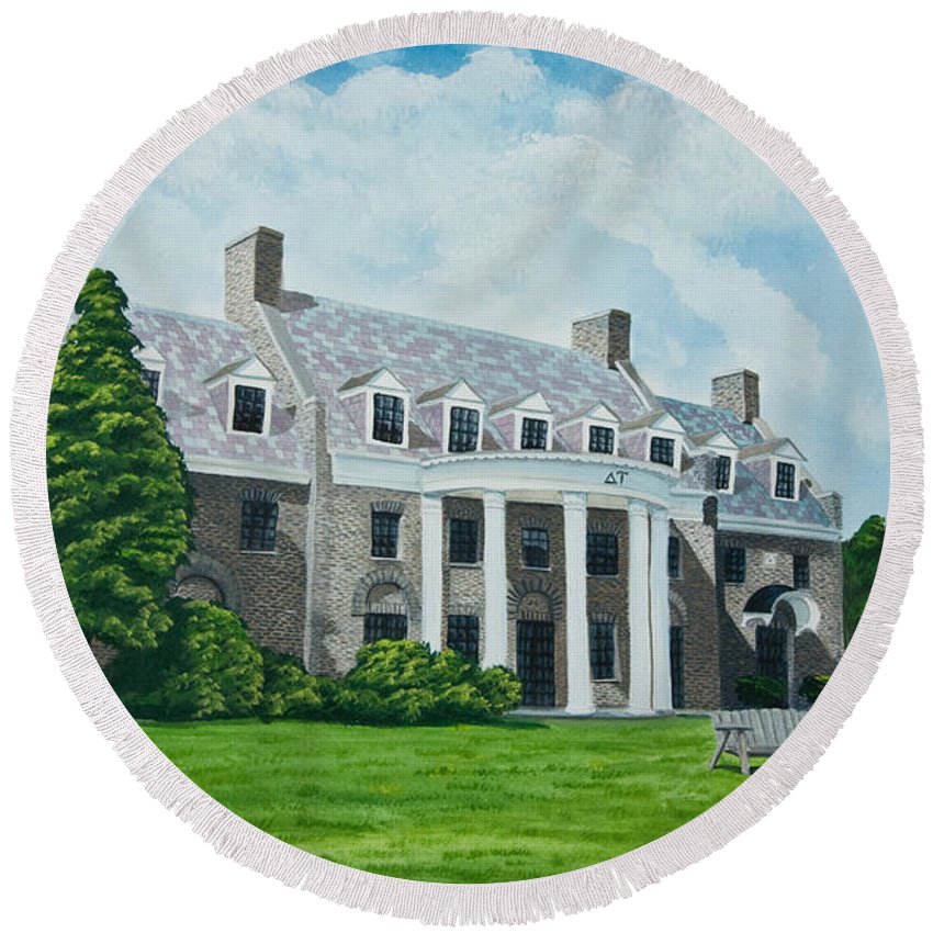 Colgate University History Round Beach Towel featuring the painting Delta Upsilon by Charlotte Blanchard