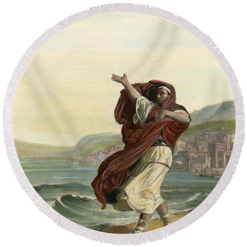 Ancient Round Beach Towel featuring the drawing Demosthenes, 384-322 B.c. by Granger