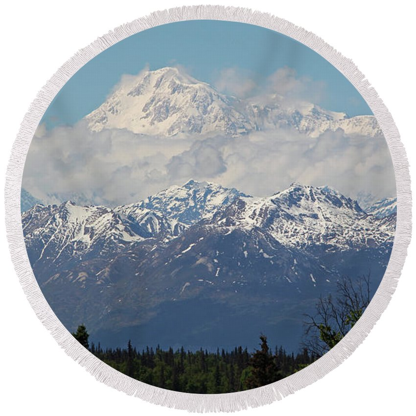 Denali Round Beach Towel featuring the photograph Denali by Sierra Vance