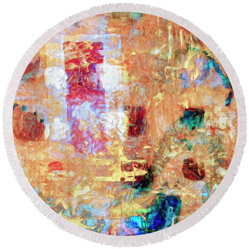 Abstract Round Beach Towel featuring the painting Denizens by Dominic Piperata